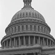 United States Capitol Building 3 Bw Art Print