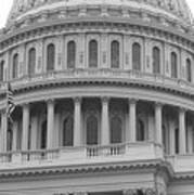 United States Capitol Building Bw Art Print