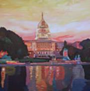 United States Capitol In Washington D.c. At Sunset Art Print