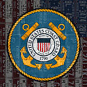 United States Coast Guard Logo Recycled Vintage License Plate Art Art Print