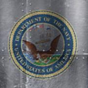 United States Navy Logo On Riveted Steel Boat Side Art Print
