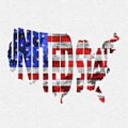 United States Typographic Map Flag Art Print