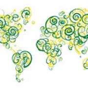 University Of Alberta Colors Swirl Map Of The World Atlas Art Print