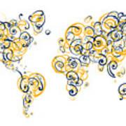 University Of California Berkeley Colors Swirl Map Of The World  Art Print
