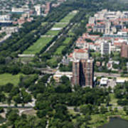 University Of Chicago Booth School Of Business And Midway Plaisance Park Aerial Photo Art Print