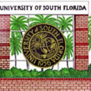 University Of South Florida Art Print by Frederic Kohli