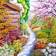 Up The Garden Path Art Print by Debbie  Diamond