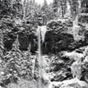 Upper Falls In Snow's Cover Art Print