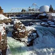 Upper Falls Winter - Spokane Art Print