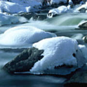 Upper Provo River In Winter Art Print