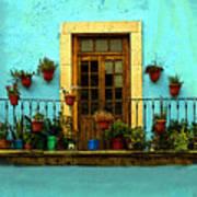 Upper Window In Turqoise Art Print