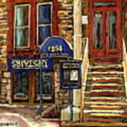 Upstairs Jazz Bar And Grill Montreal Print by Carole Spandau