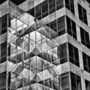 Urban Abstract - Mirrored High-rise Building In Black And White Art Print