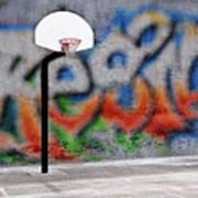 Urban Basketball Hoop Inner City Innercity Wall And Asphalt In O Art Print
