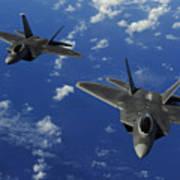 U.s. Air Force F-22 Raptors In Flight Art Print