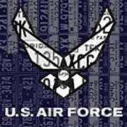 Us Air Force Logo Recycled Vintage License Plate Art Art Print