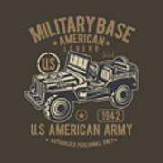 Us American Amry Jeep Art Print