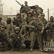 U.s. Army Soldiers Pose For A Photo Art Print