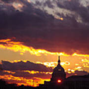 U.s. Capitol Dome At Sunset Art Print