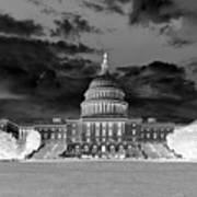 Us Capitol Washington Dc Negative Art Print