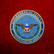 U. S. Department Of Defense - D O D Emblem Over Red Velvet Art Print