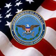 U. S. Department Of Defense - D O D Emblem Over U. S. Flag Art Print
