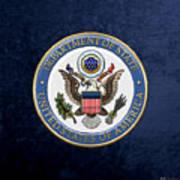U. S. Department Of State - D O S Emblem Over Blue Velvet Art Print