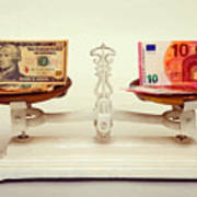 U.s. Dollar And Euro Banknotes On A Pair Of Scales In Vienna Art Print