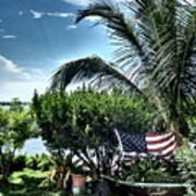 US Flag in the Abaco Islands, Bahamas Art Print