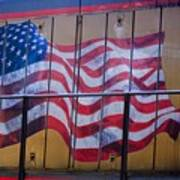 Us Flag On Side Of Freight Engine Art Print
