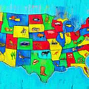 Us Map With Theme  - Free Style -  - Da Art Print