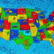 Us Map With Theme  - Special Finishing -  - Da Art Print