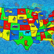 Us Map With Theme  - Van Gogh Style -  - Da Art Print
