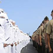 U.s. Marines And Sailors Stand Art Print