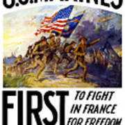 Us Marines - First To Fight In France Art Print