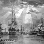 U.s. Naval Ships At The Brooklyn Navy Yard Art Print