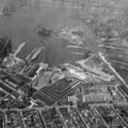 U.s. Naval Yard In Brooklyn Ny Photograph - 1932 Art Print