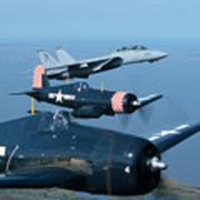 Us Navy Lagacy Flight  Art Print
