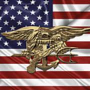 U.s. Navy Seals Trident Over U.s. Flag Art Print