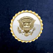 Vice Presidential Service Badge On Blue Velvet Art Print