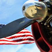 Usa Flag Bomber Wwii  Art Print