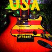 Usa Guitar Music Art Print