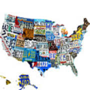 Usa License Plates Map 4p Art Print