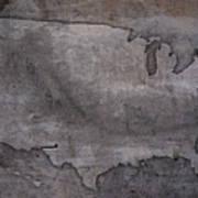 Usa Map Outline On Concrete Wall Slab Art Print