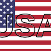 Usa On The American Flag Art Print