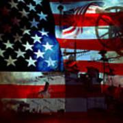 Usa Patriot Flag And War Art Print