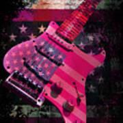 Usa Pink Strat Guitar Music Art Print