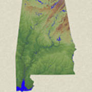 Usgs Map Of Alabama Art Print