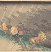 Utagawa Hiroshige    Shno Hakuuwhite Rain At Shno Art Print