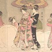 Utagawa Toyokuni I    Courtesans And Attendants Playing In The Snow Art Print
